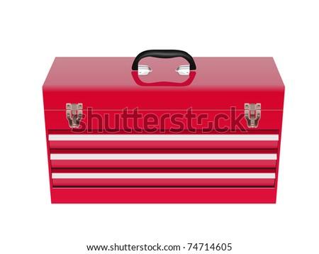 red metal tool box - stock vector