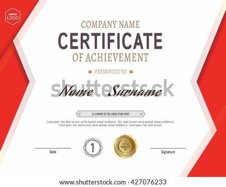 red modern certificate template diploma cover vector design for prize achievement award and graduation