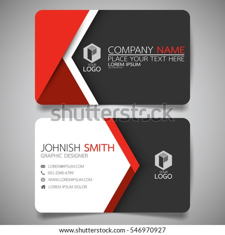 Red modern creative business card and name card,horizontal simple clean template vector design, layout in rectangle size.