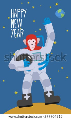 red monkey astronaut waving