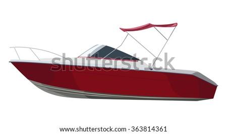 red motorboat on transparent