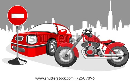 Red motorcycle and a car, road sign and landscape of the city.