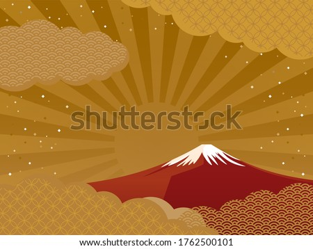 red Mount Fuji and clouds / Japanese style Stock photo ©