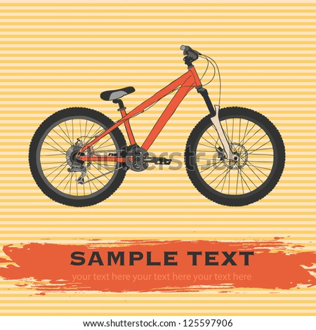 Red mountain bicycle with orange striped background. Vector illustration.
