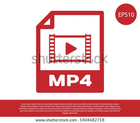 Red MP4 file document icon. Download mp4 button icon isolated on white background. MP4 file symbol. Vector Illustration