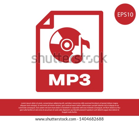 Red MP3 file document icon. Download mp3 button icon isolated on white background. Mp3 music format sign. MP3 file symbol. Vector Illustration