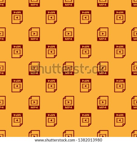 Red MP4 file document icon. Download mp4 button icon isolated seamless pattern on brown background. MP4 file symbol. Vector Illustration