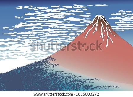 Red Mt.Fuji Ukiyo-e, 36 views of Mt. Fuji Stock photo ©
