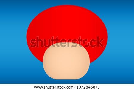 red mushroom isolate on blue