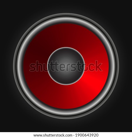 Red music column on gray background, vector illustration