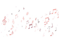 Red musical notes flying isolated on white background. Stylish musical notation symphony signs, pink notes for sound and tune music. Vector symbols for melody recording, prints and back layers.