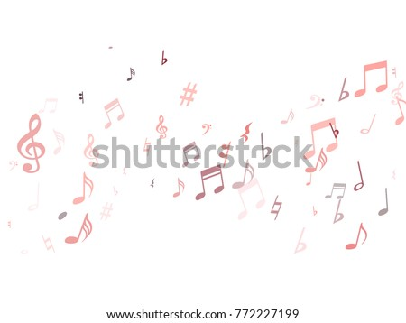 red musical notes flying