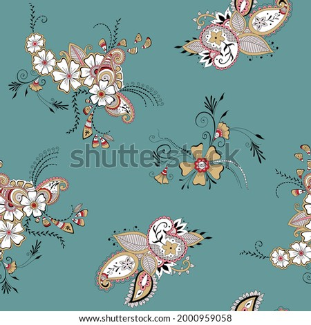 red mustered and pink seamless vector paisley pattern on green background Stock foto ©