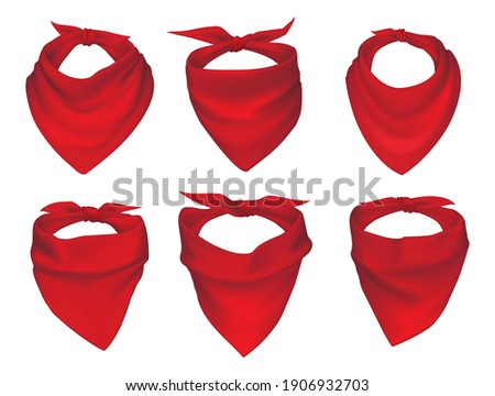 Red neck scarves, bandanas, neckerchiefs and handkerchiefs isolated vector set. 3d realistic silk accessories, kerchieves of cowboy, western bandit, pirate or biker with different knots and drapery