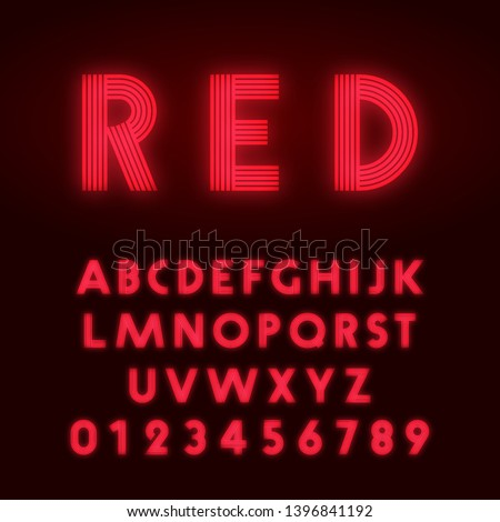 Red neon alphabet font. Letters and numbers line design. Vector illustration. #1396841192