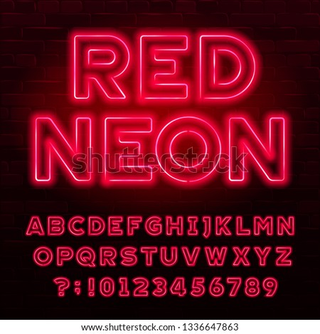 Red neon alphabet font. Red color light bulb capital letters and numbers. Stock vector typeface for your typography design.