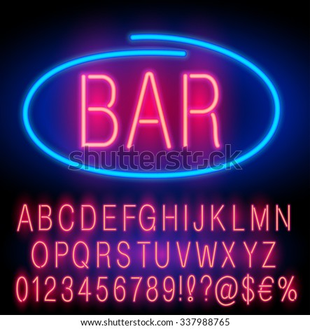 red  neon alphabet set for