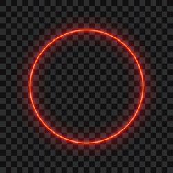 Red neon circle on transparent background, vector illustration.