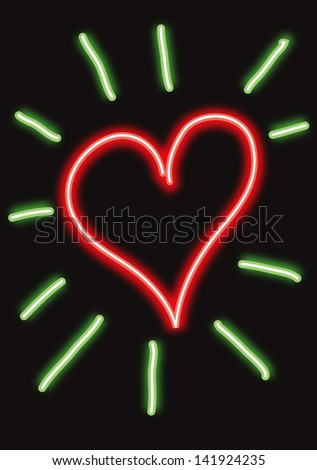 Red Neon Heart With Green Shining Rays As Neon Tubes Vector Illustration Shutterstock #1: stock vector red neon heart with green shining rays as neon tubes vector illustration