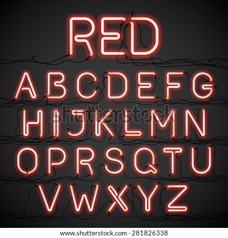 red neon light alphabet with