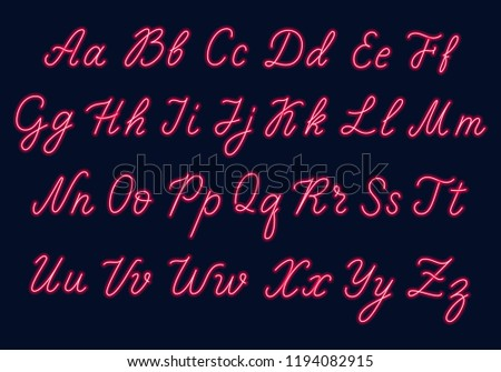 Red neon script. Uppercase and lowercase letters.