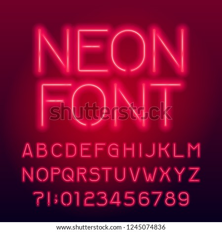 Red neon tube alphabet font. Neon color uppercase letters and numbers. Stock vector typography for your design. #1245074836