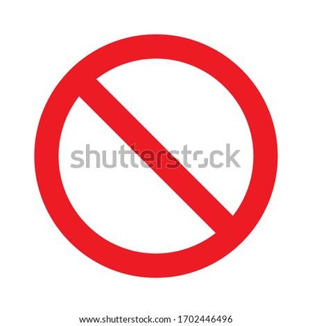 Red no symbol. Circle red warning icon vector illustration Foto d'archivio ©