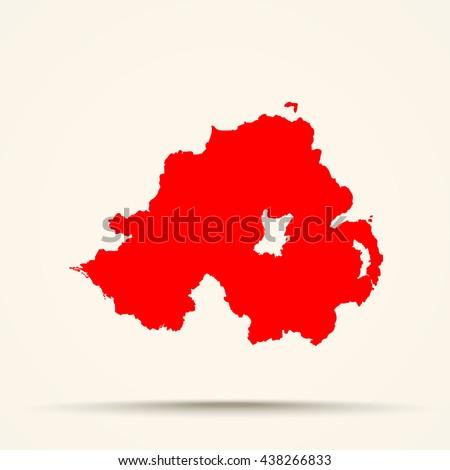 red northern ireland map