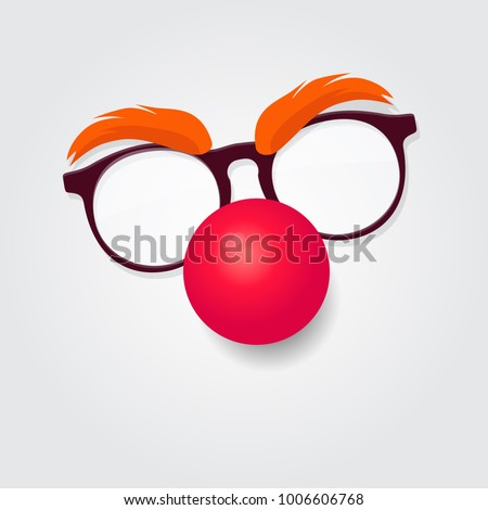 Red nose day. Carnival goggles with a red nose. Design element for logo or emblem