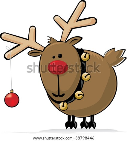 Red Nosed Reindeer with Jingle Bells and red christmas ball decoration