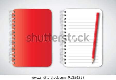Red Notebook and Pencil Vector