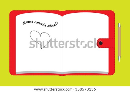 red notebook with latin