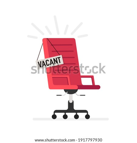 Red office chair and sign vacant. Business hiring and recruiting concept. Vector illustration. Imagine de stoc ©