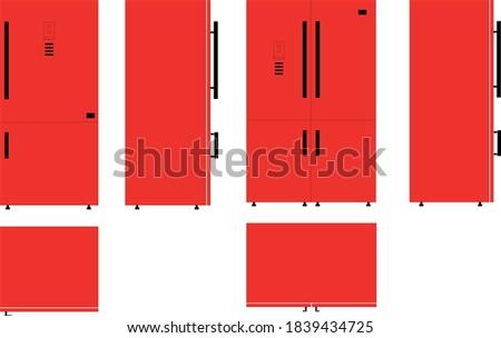 red  one   two doors fridge