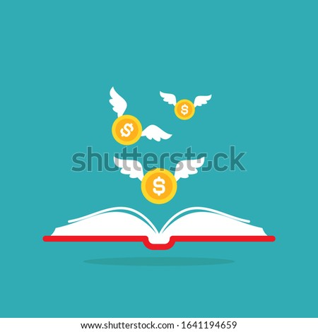 red open book with colden dollar coins with wings flying out on blue background.  Money book business concept. Flat vector illustration. Account book symbol.  Investment ideas.  Foto stock ©