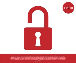 Red Open padlock icon isolated on white background. Opened lock sign. Cyber security concept. Digital data protection. Safety safety. Vector Illustration