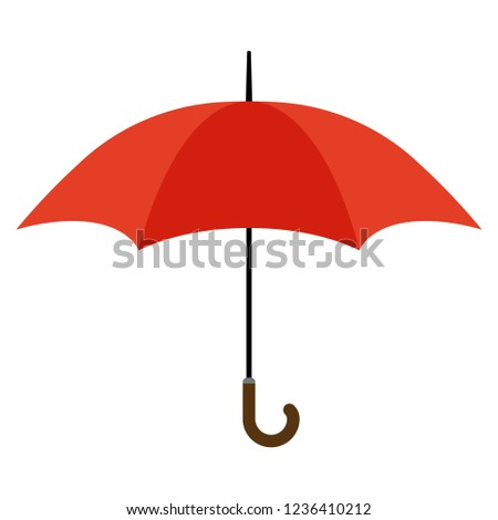 Red open umbrella. Vector isolated template.