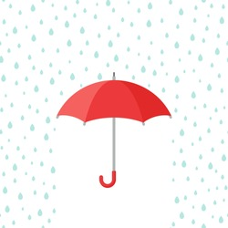 Red open Umbrella with rain drops. Flat icon isolated on white. Flat design. Vector illustration. Rain protection symbol. Rainy weather sign. Happy mood, luck, safety