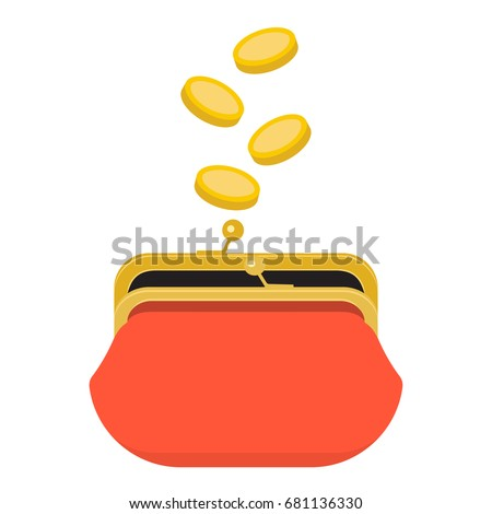 Red opened purse infographics concept. Gold coins raining to open wallet. Golden coins money dropping or falling in open purse. Vector illustration