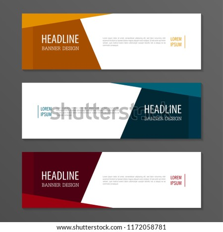 Red,Orange and Blue color banner design.Horizontal advertising banner. #1172058781
