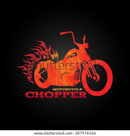 red orange motorcycle chopper