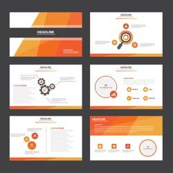 Red Orange presentation template Infographic elements flat design set for brochure flyer leaflet marketing advertising