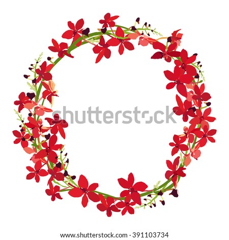 red orchid frame  floral wreath