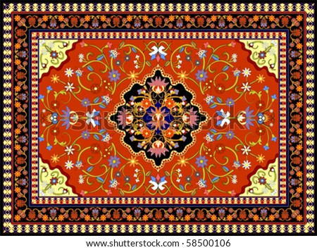 Red oriental vector carpet