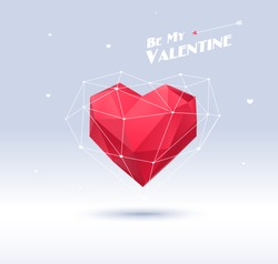 Red origami heart on white background with shadow. Vector Illustration. Abstract polygonal heart. Love symbol. Low-poly colorful style. Romantic background for Valentines day. Eps 10