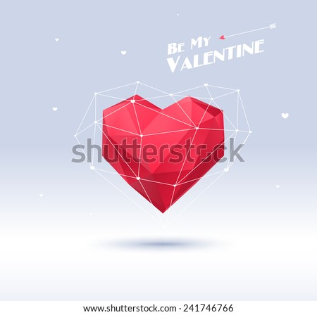 red origami heart on white