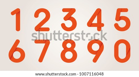 Red Origami Numbers From Zero to Nine, Vector Illustration Set