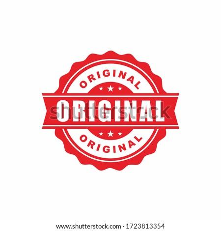 Red Original Stamp Label Illustration Design, Original Logo or Icon Template Vector Stock photo ©