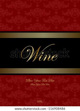 red ornamental pattern wine label