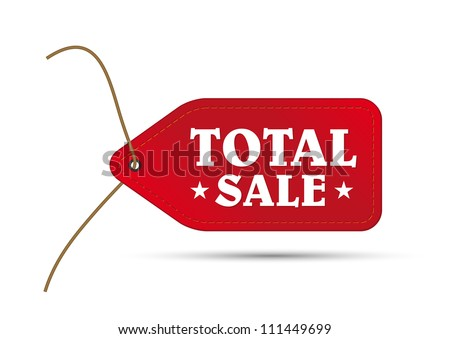 red outlet tag sale with text total sale and two stars